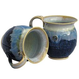 Handmade Irish Coffee & Tea Mugs. Set of Two Blue Hand-Throw