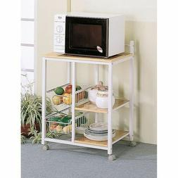 Home Kitchen Microwave Metal Shelf Organizer Utility Rolling
