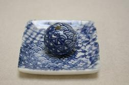 Japanese Art Monochromatic Blue Inspired Incense Holder Squa