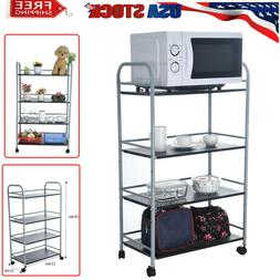 Kitchen Dining Bakers Rack Microwave Oven Stand Storage Cart