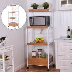 Kitchen Home 3Tier MDF+Iron Rolling Microwave Oven Stand Car