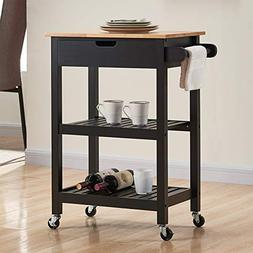 Coniffer Kitchen Island Microwave Roller Cart on Wheels Blac