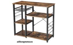 Kitchen Microwave Stand Storage Bakers Rack Wood Shelves 6 H