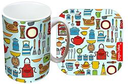 kitchen utensils designer mug coaster