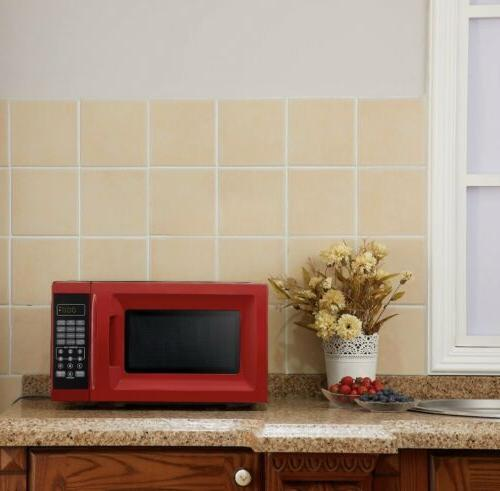 0.7 Ft. 700W Red Microwave with Power