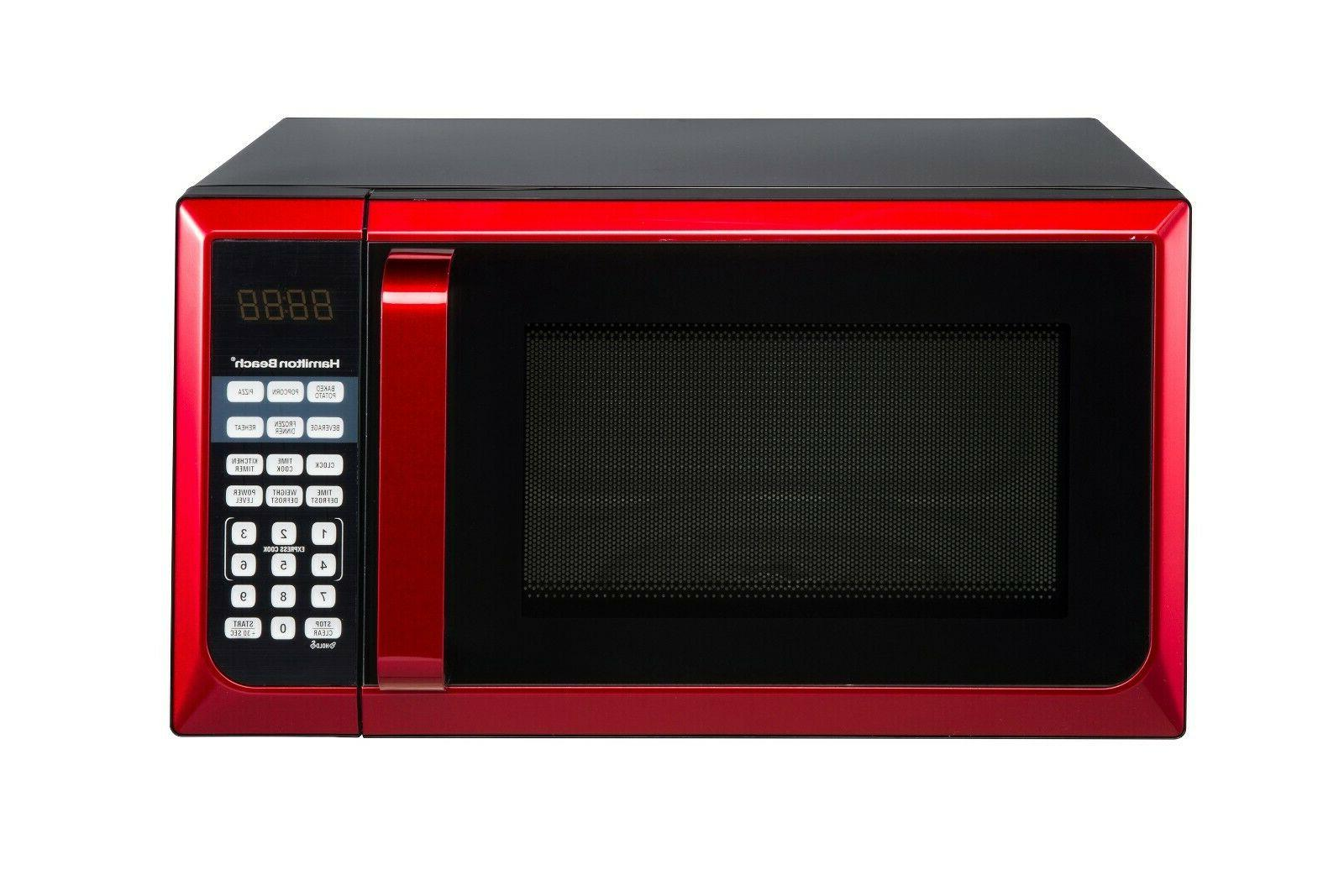 Hamilton Beach Stainless Steel 0.9 Cu. Ft. Red Microwave Ove