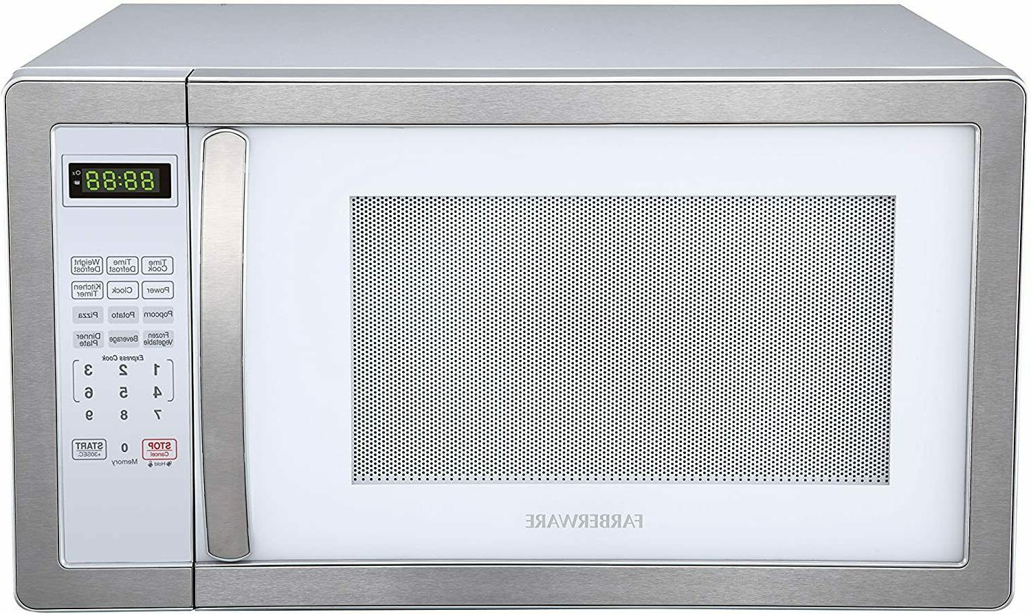 Farberware Microwave with LED Lighting Cubic Feet, White/Plat