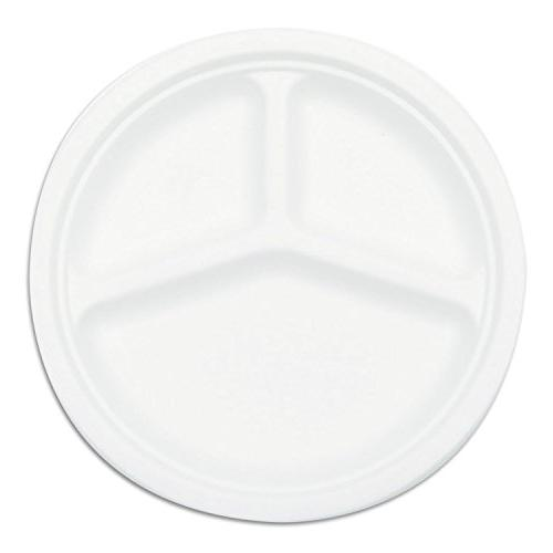 3 compartment compostable sugarcane plate