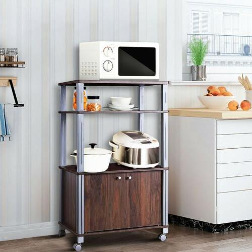 Bakers Rack Microwave Stand Rolling Kitchen Storage Cart Cab