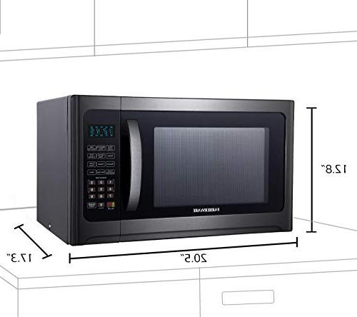 Farberware Black FMO12AHTBSG Cu. Ft. Microwave Oven with ECO Mode Lighting, Steel