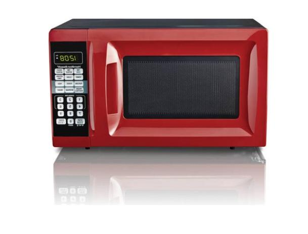 Countertop 0.7 Cu. Ft. Red Microwave Oven 700W Digital LED K
