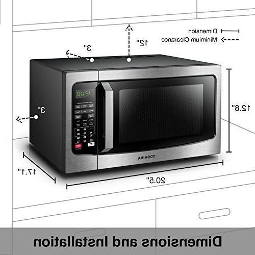 Toshiba EM131A5C-SS Microwave with Smart Sensor, Clean and On/Off, Cu.ft, Stainless Steel