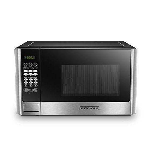 BLACK+DECKER EM925AB9 Digital Microwave Oven with Turntable Door,Child cu.ft,Stainless Steel