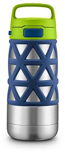 Ello Max Stainless Steel Water Bottle, Navy/Green, 14 oz