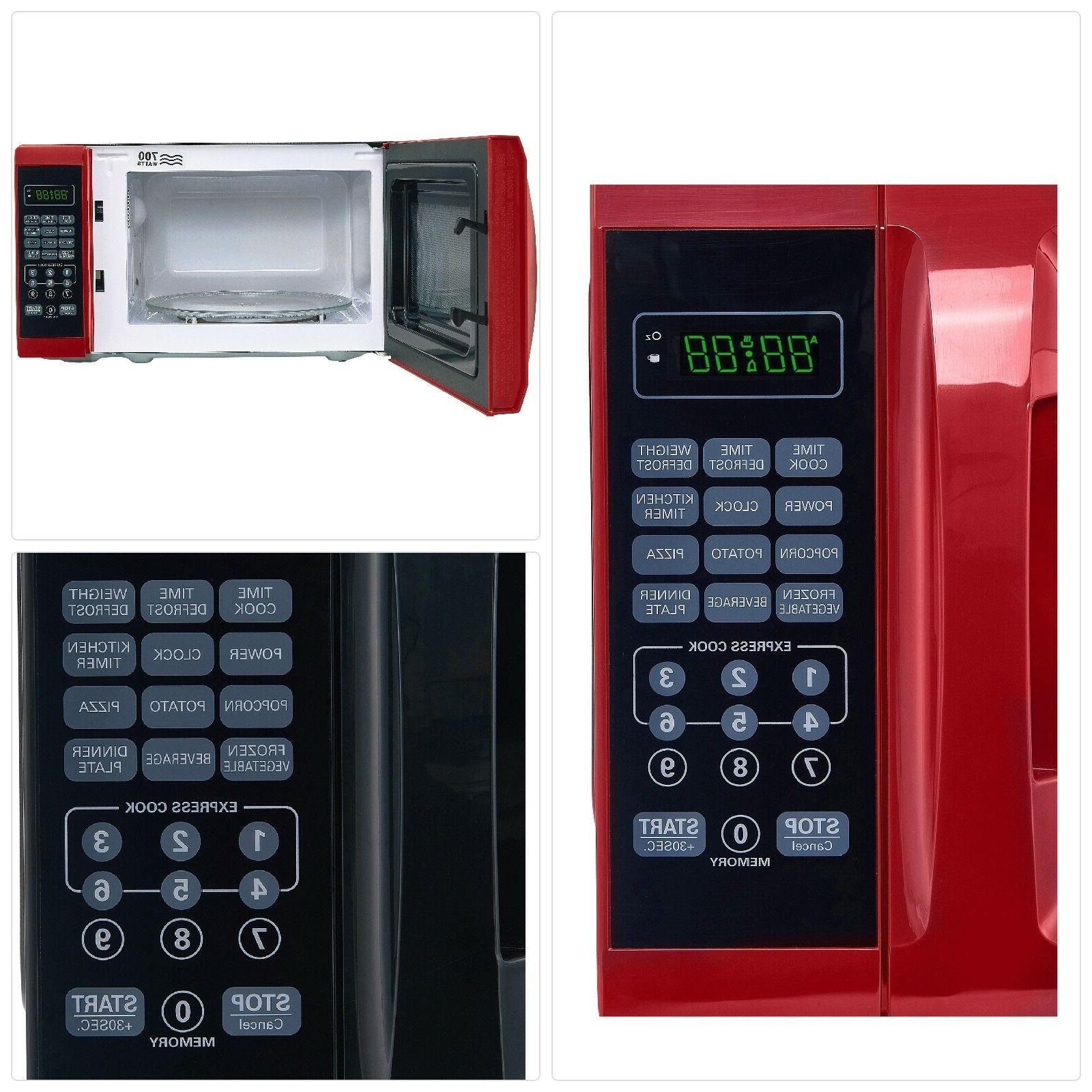 Microwave Oven Countertop With Removable Rotating Red