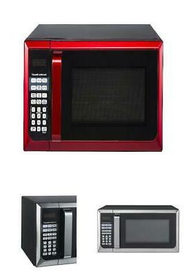 microwave oven red stainless steel counter top