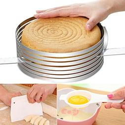 Layered Slicer Cake Ring Set, Ankoow 6-8 Inch Stainless Stee