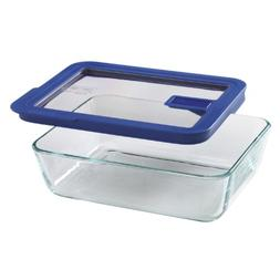 Pyrex No Leak Clear 6-Cup Rectangle Food Storage with Blue C