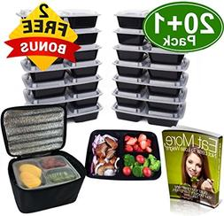 Meal Prep Containers 3 Compartment , w/Bonus Lunch Bag, BPA