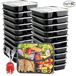 Meal Prep Containers  3 Compartment with Lids and Forks, BAS