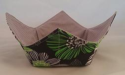 Microwave Bowl Cozy Green Floral/Gray Reversible Handmade