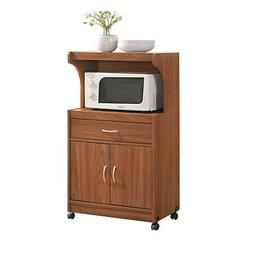 Hodedah Microwave Kitchen Cart, Cherry