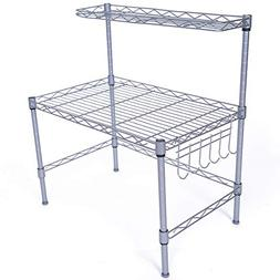 JS HOME Microwave Oven Rack, 2-tier Adjustable Kitchen Stora