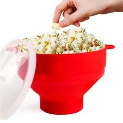 Microwave Popcorn Popper Collapsible Popcorn Maker Bowl with