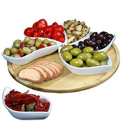 Elama Signature Modern Lazy Susan Appetizer and Condiment Se