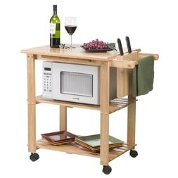 Natural Mobile Microwave Cart Home Dining Room Kitchen Furni