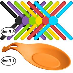 6 Pack Non-slip Foldable Silicone Trivets, SourceTon Collaps