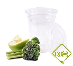 Plastic Disposable Cups with Lids - Premium 12 oz  Crystal