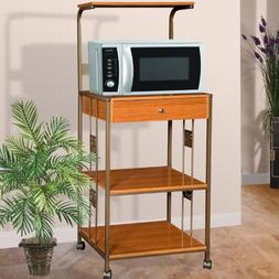 Home Source Industries R0018 Cherry Microwave Cart with 2 El