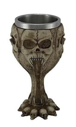 Resin Goblets Gothic Screaming Skulls 12 Ounce Goblet W/Stai