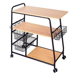 1208S Rolling Kitchen Cart Kitchen Trolley Island Cart on Wh