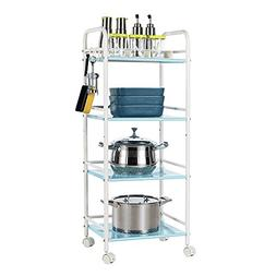 EMMA HOME Shelf 4-tier Slide-out Kitchen Carbon Steel Storag