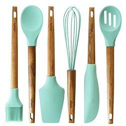 Silicone Baking Utensils | Wooden Handle, Balloon whisk, Slo