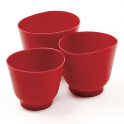 Norpro 1019R 3 Piece Silicone Bowl Set, Red