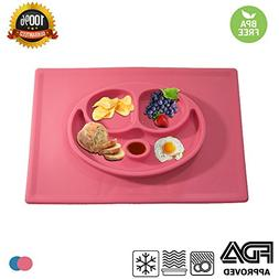 Silicone Kids Dish Mat with Three Separate Parts for Food Pl