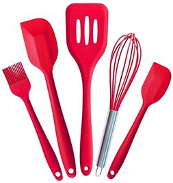 kiskistonite Premium Silicone Kitchen Utensils 5-Piece Set w