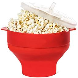 Silicone Microwave Popcorn Popper bucket with Lid, Collapsib
