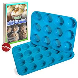 Silicone Muffin & Cupcake Baking Pan Set  - Non Stick, BPA F