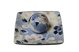 ACSWEBSHOP Square Type Ceramic Incense Holder Blue Floral Sa