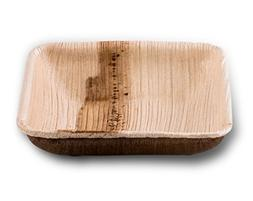 "3"" Square Shallow Disposable Palm Leaf Paper Dish: Compostab"