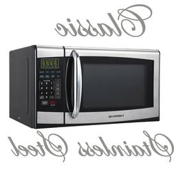 Stainless Steel/Black Farberware Microwave Oven 0.9 cubic fo