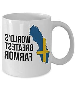 Sweden Coffee Mug - Novelty Farmor Swedish Flag Tea Cup For