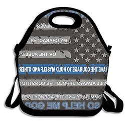 Thin Blue Line USA American Flag Neoprene Lunch Bag Insulate