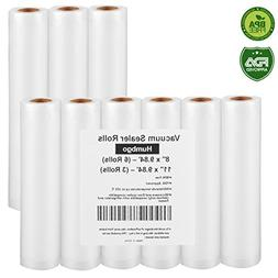"Vacuum Sealer Rolls, 9 Pack 8"" x9.84' and 11"" x9.84' Embosse"