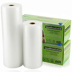 "Vacuum Sealer Rolls with Cutter Box 2 Pack 8""x50' and 11""x50"