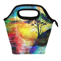Watercolor Viking Boat and Tree on the Beach Lunch Box Tote
